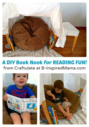 A Simple DIY Book Nook for Kids Reading Fun at B-Inspired Mama
