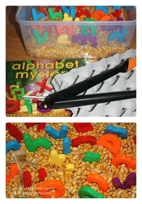 Alphabet Corn Bin Sensory Play - Perfect for Preschoolers!
