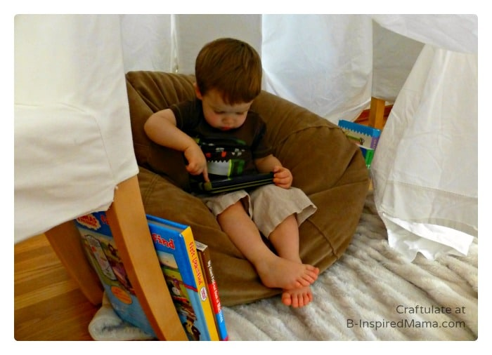 Having some Reading Fun in the DIY Book Nook at B-Inspired Mama