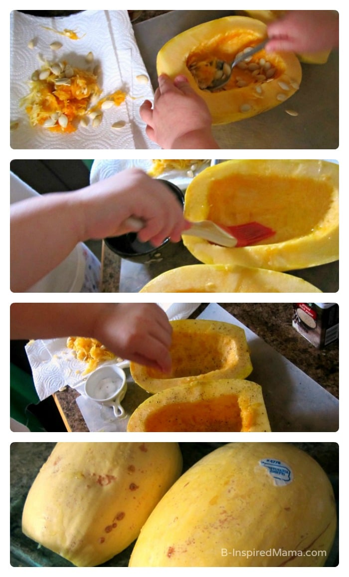 Making Magic Spaghetti Squash with Kids for an Italian Chicken Dinner at B-Inspired Mama