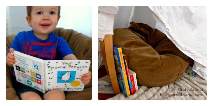Reading Fun in the DIY Book Nook at B-Inspired Mama
