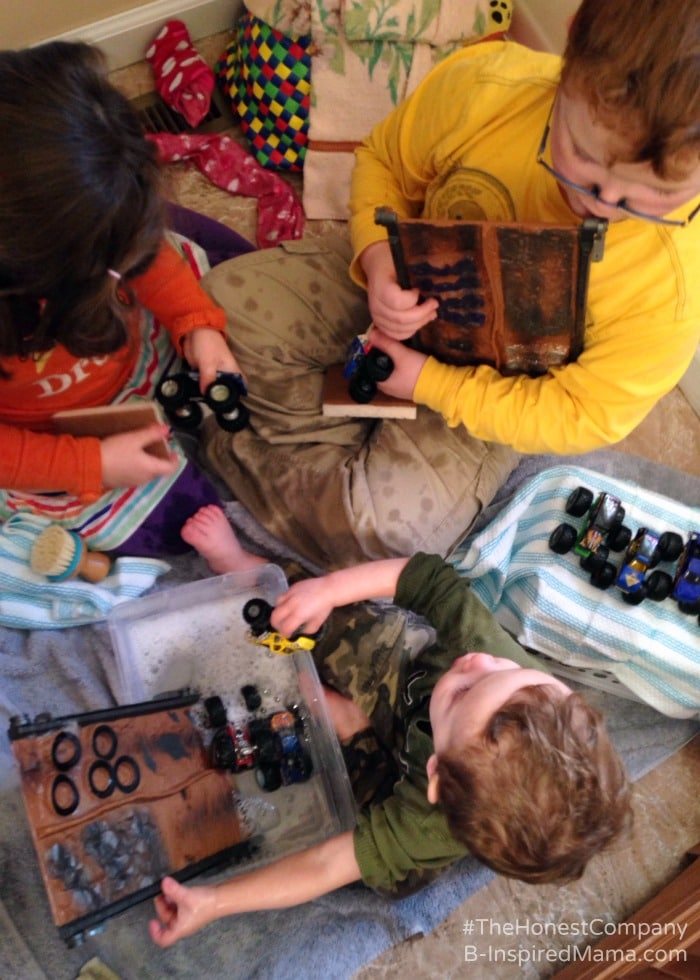 Simple Sensory Play with a Monster Truck Wash - Sponsored by #TheHonestCompany at B-Inspired Mama