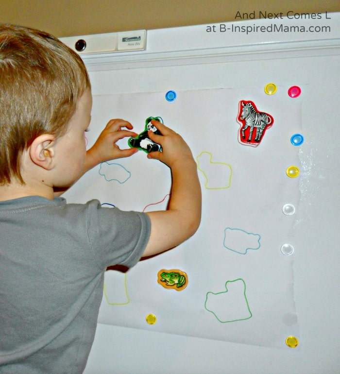 Some Early Learning with a Homemade Magnet Puzzle at B-Inspired Mama