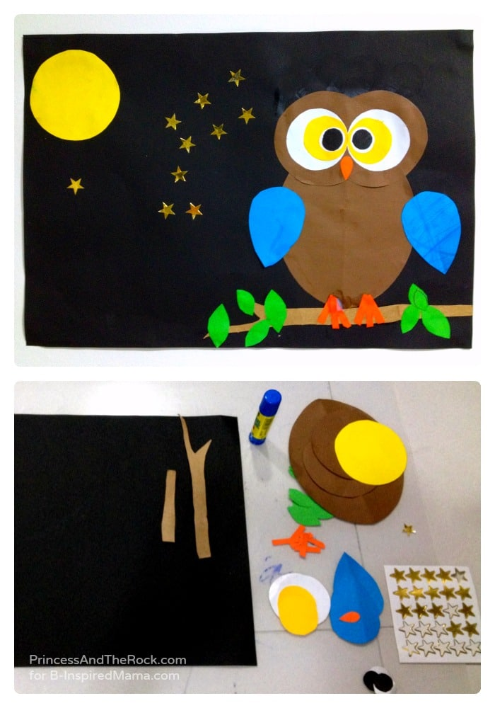 using shapes to make a cute owl craft at b inspired mama
