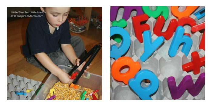 Using Tongs and the Alphabet for Sensory Play at B-Inspired Mama