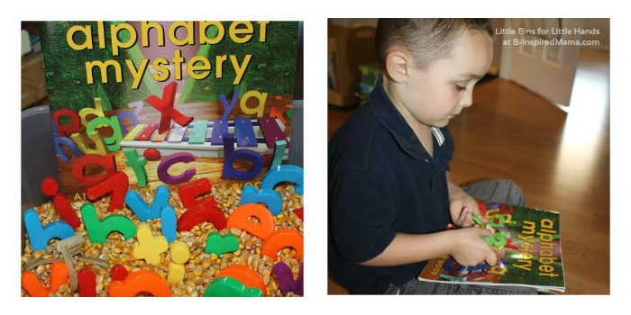 Using the Book Alphabet Mystery for Some Corn and Alphabet Sensory Play at B-Inspired Mama