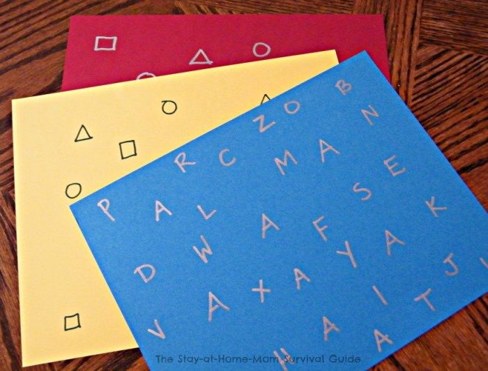 Papers - Learning Letters and Shapes with a Simple Sticker Activity - From The Stay-At-Home-Mom Survival Guide at B-Inspired Mama