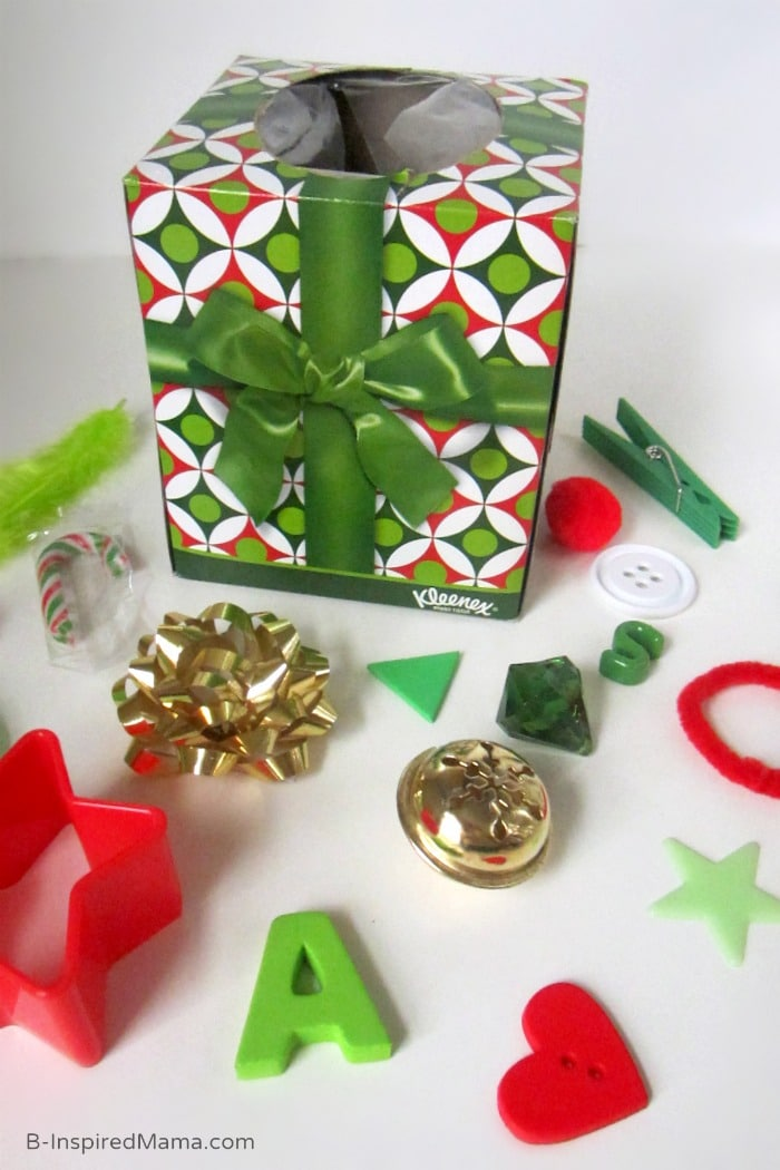 A DIY Holiday Touch and Feel Box with Kleenex at B-Inspired Mama
