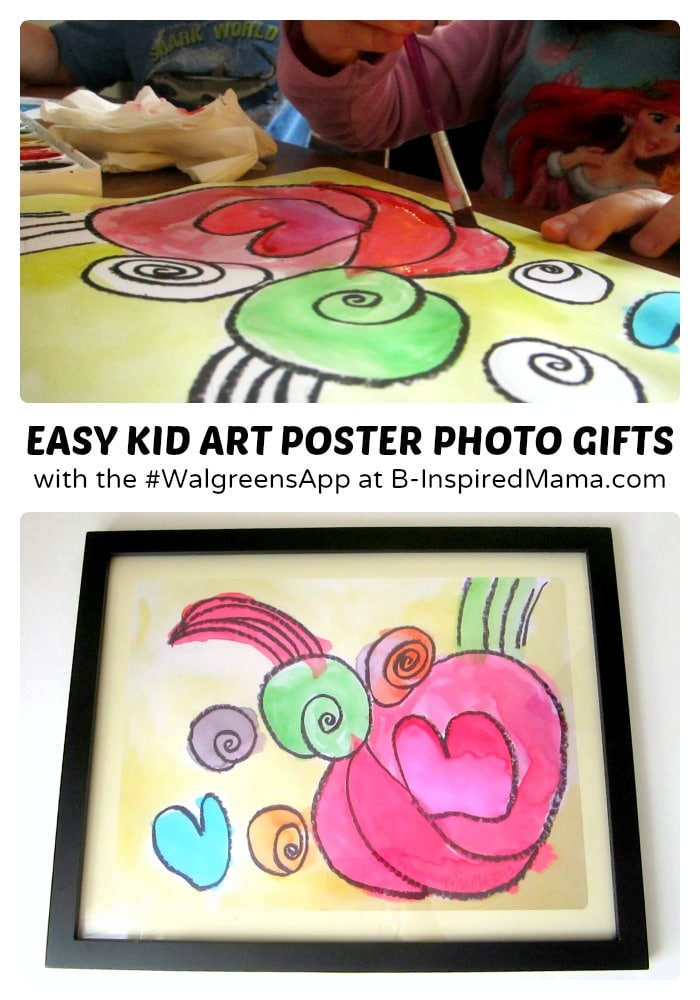 Easy Kid Art Poster Christmas Gifts - Sponsored by #WalgreensApp #shop #cbias at B-Inspired Mama