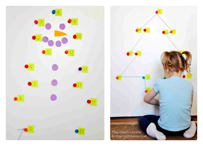 Giant Holiday Dot-to-Dot Counting Games for Preschoolers at B-Inspired Mama