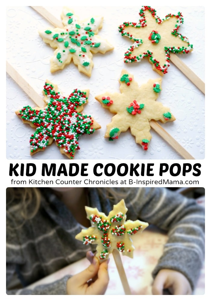 Kids Holiday Sugar Cookie Pops - at B-Inspired Mama