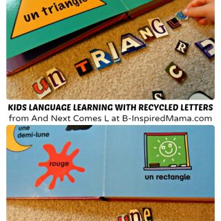 Kids Second Language Learning with Recycled Letters at B-Inspired Mama
