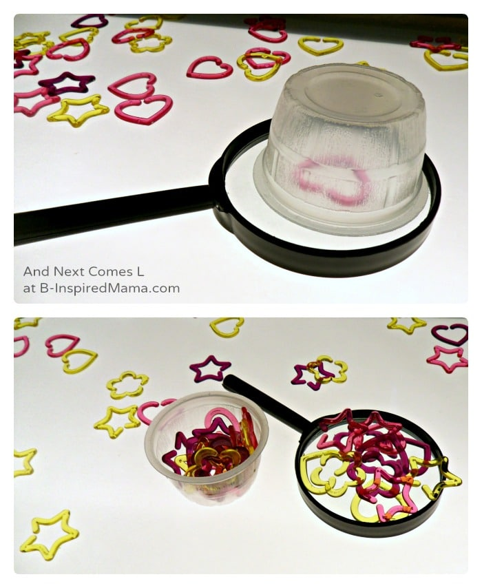 Pretend Play and Learning Shapes on The Light Table by And Next Comes L at B-Inspired Mama