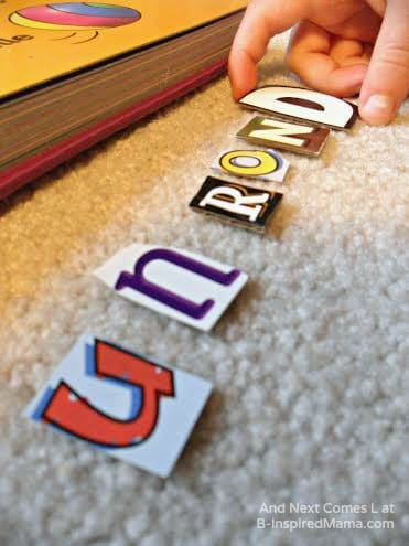Some Kids Second Language Learning with Recycled Letters at B-Inspired Mama