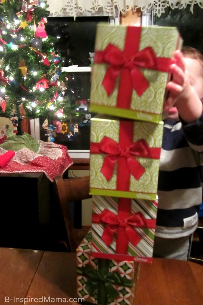 Stacking Kleenex Boxes + DIY Holiday Touch and Feel Box with Kleenex at B-Inspired Mama