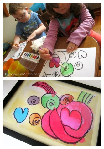 Watercolor and Oil Pastel Kid Art Poster Christmas Gifts - Sponsored by #WalgreensApp at B-Inspired Mama