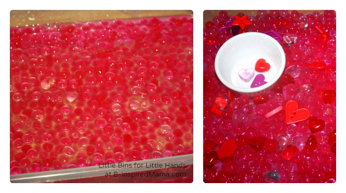 A Valentine's Day Sensory Bin for Sensory Play at B-Inspired Mama