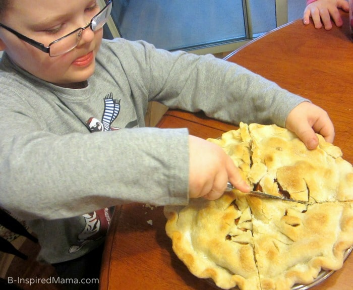 Cutting Fractions - Math Fun with Apple Pie at B-Inspired Mama
