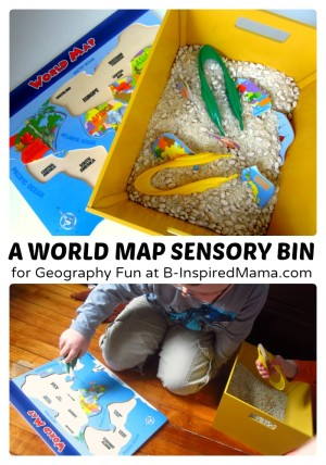 Fun Geography for Kids with a World Map Sensory Bin - B-Inspired Mama