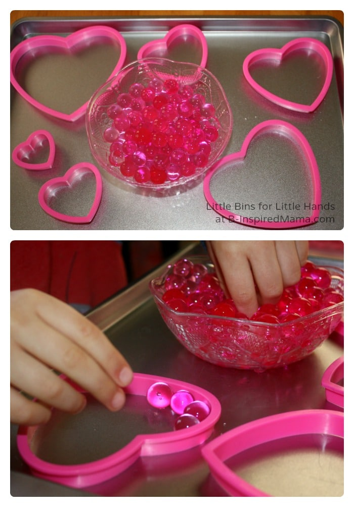 Heart Cookie Cutters and Water Beads - Valentines Day Sensory Play at B-Inspired Mama