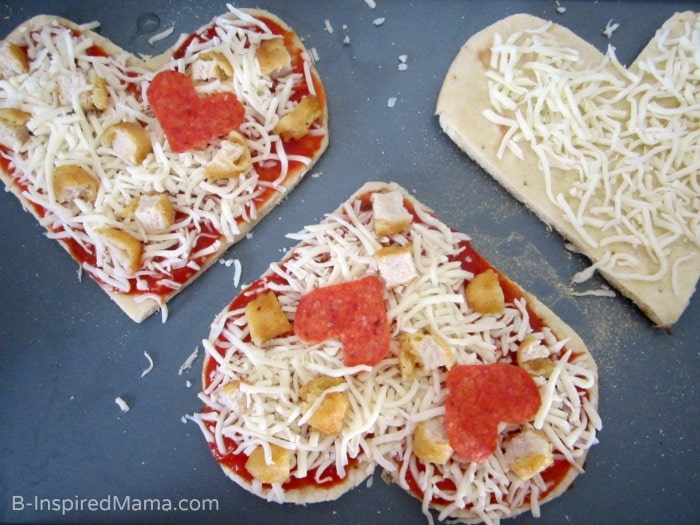 Easy heart pizzas