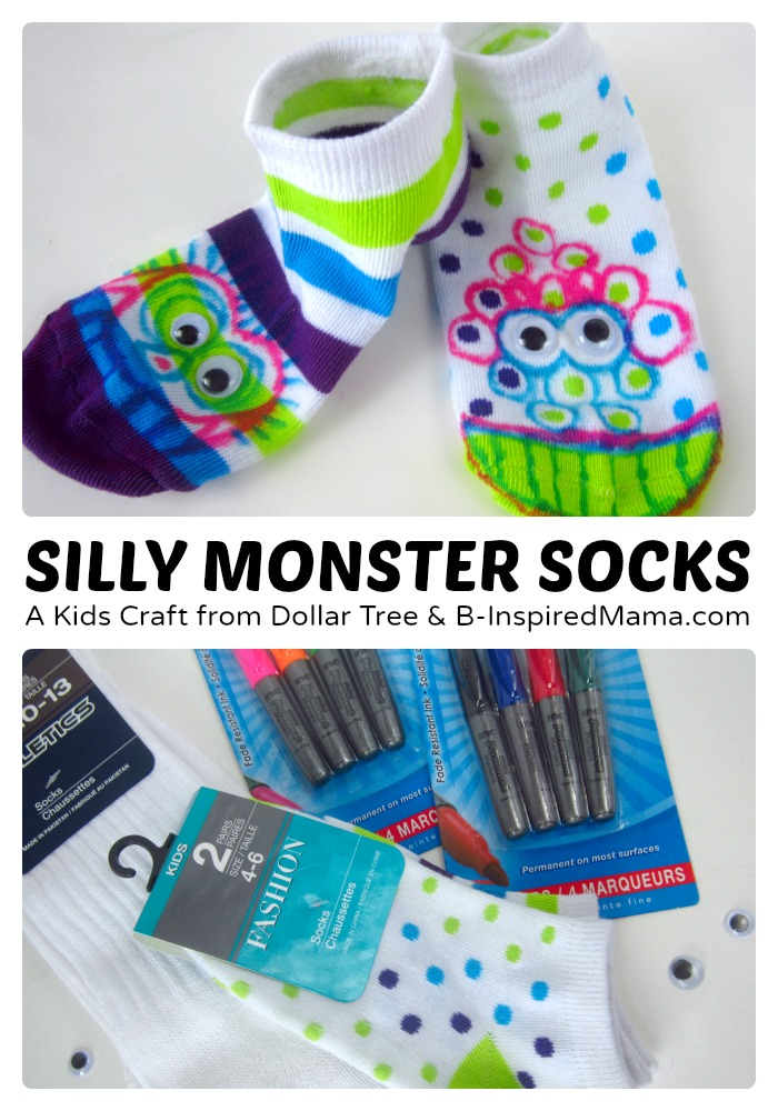 Silly Socks Monster Craft - Sponsored by Dollar Tree at B-Inspired Mama