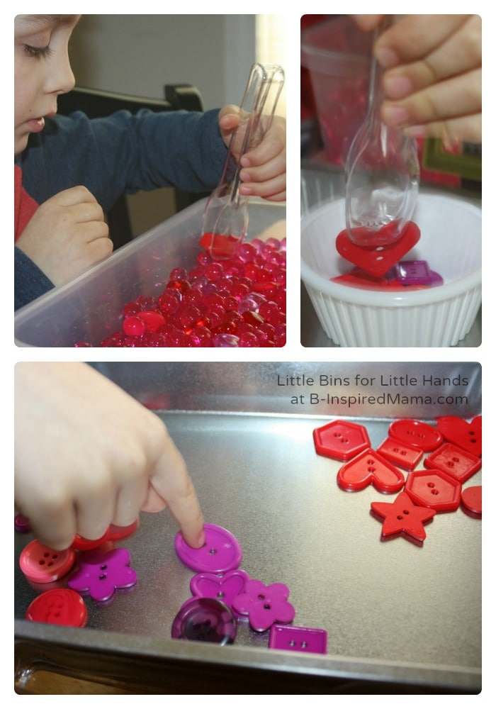 Sorting Buttons - Valentines Day Sensory Play at B-Inspired Mama