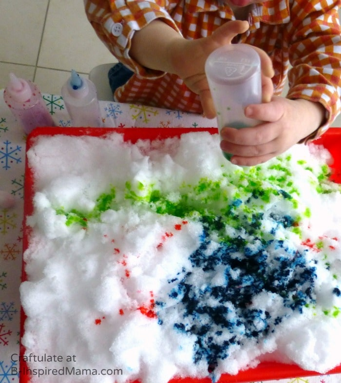 Toddler Fun with Snow Painting at B-Inspired Mama