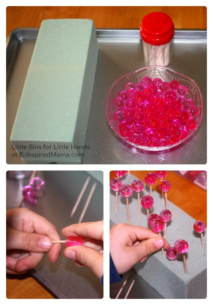 Water Beads and Toothpicks - Valentines Day Sensory Play at B-Inspired Mama