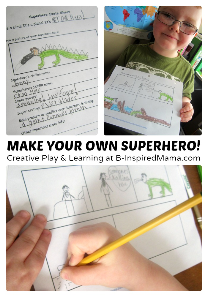 Creative Writing & Comic - Make Your Own Superhero Toys + Comic Printable - #Sponsored #MyMashUp at B-Inspired Mama