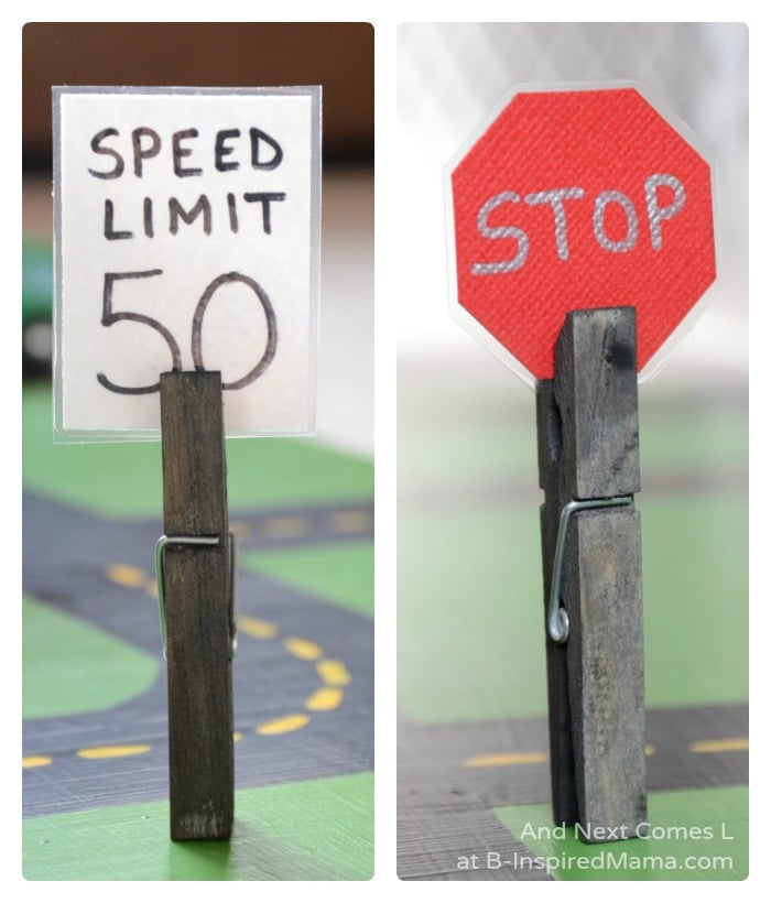 Easy DIY Toys - Fun Road Signs for Imaginative Play at B-Inspired Mama