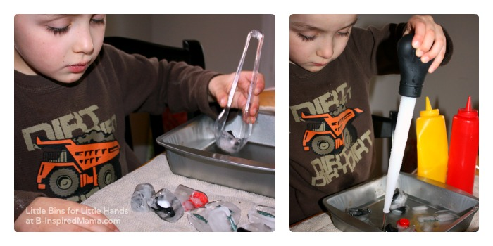 Fine Motor Skills - Penguin Ice Melt Science for Kids at B-Inspired Mama