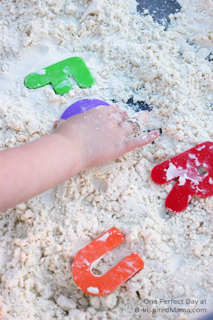 Letter Learning and Sight Word Activities Using a Cloud Dough Sensory Bin at B-Inspired Mama