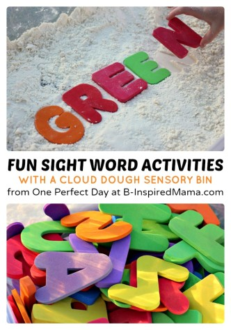 Sight Word Activities Using a Cloud Dough Sensory Bin at B-Inspired Mama