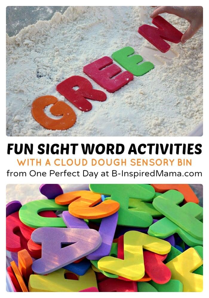 Sight Word Activities Using a Cloud Dough Sensory Bin at B-Inspired Mama