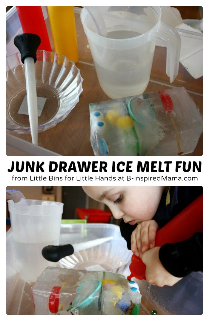 Simple Science for Kids - Junk Drawer Ice Melt Fun at B-Inspired Mama