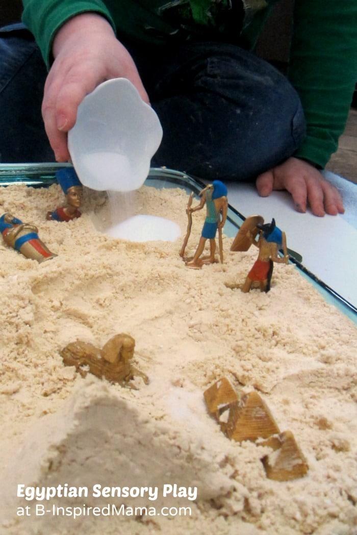 Egyptian Cloud Dough Sensory Play at B-Inspired Mama