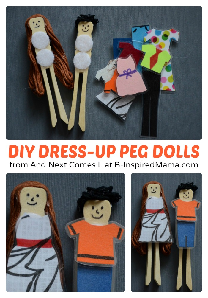 Simple DIY Toys - Dress Up Peg Dolls at B-Inspired Mama