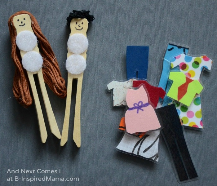 Simple DIY Toys - Fun Dress Up Peg Dolls at B-Inspired Mama