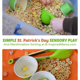 Simple St. Patrick's Day Sensory Play with Cereal at B-Inspired Mama