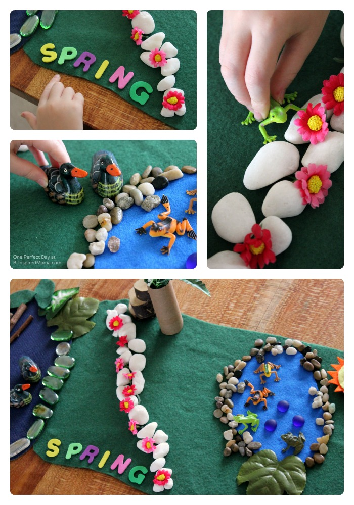 Spring Themed Small World Kids Play at B-Inspired Mama