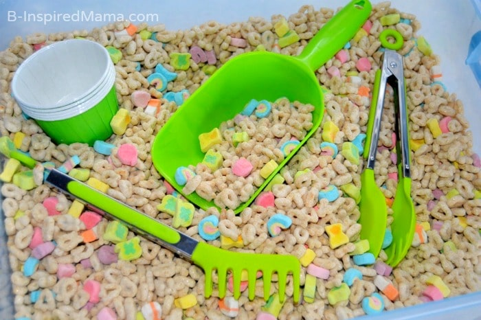 Using Lucky Charms Cereal for Sensory Play at B-Inspired Mama