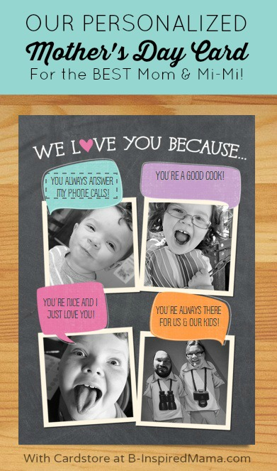A Personalized Mother's Day Card with Cardstore for the Best Mom in the World - AD #WorldsToughestJob at B-Inspired Mama