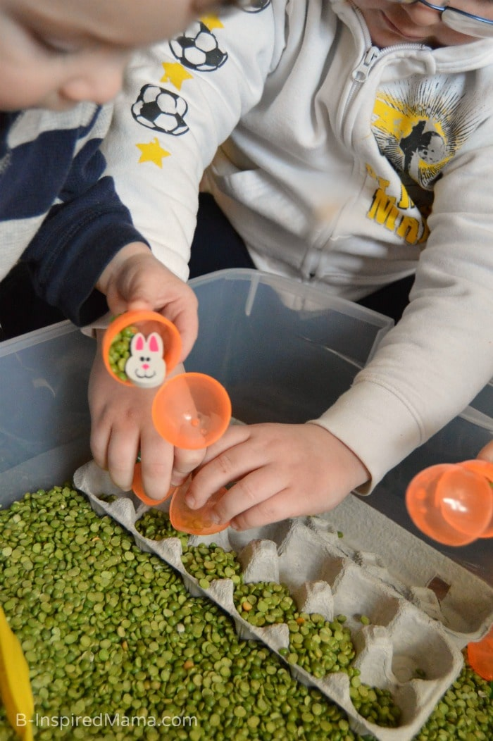 Sensory Play with a Peas and Carrots Sensory Bin at B-Inspired Mama