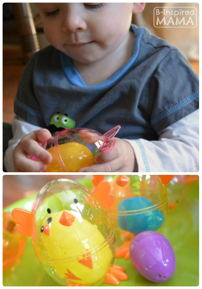 Simple DIY Toys for Kids - Nesting Easter Eggs for Fine Motor Skill Fun at B-Inspired Mama