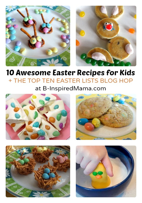 Festive Easter Recipes with cookies, candy bark, pancakes, and candy.