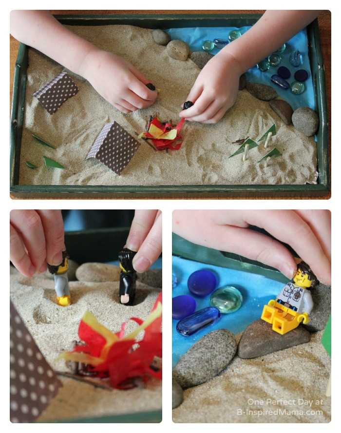 Using LEGO Minifigures in a DIY Camping Sensory Play Set at B-Inspired Mama