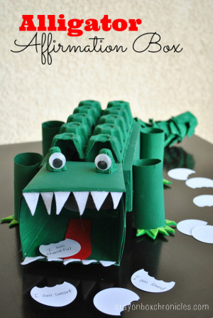 Alligator Affirmation Box - DIY Toys from Crayon Box Chronicles at B-Inspired Mama