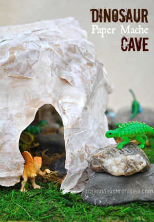 Dinosaur Play Cave - DIY Toys from Crayon Box Chronicles at B-Inspired Mama