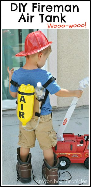Pretend Firefighter Air Tank - DIY Toys from Crayon Box Chronicles at B-Inspired Mama